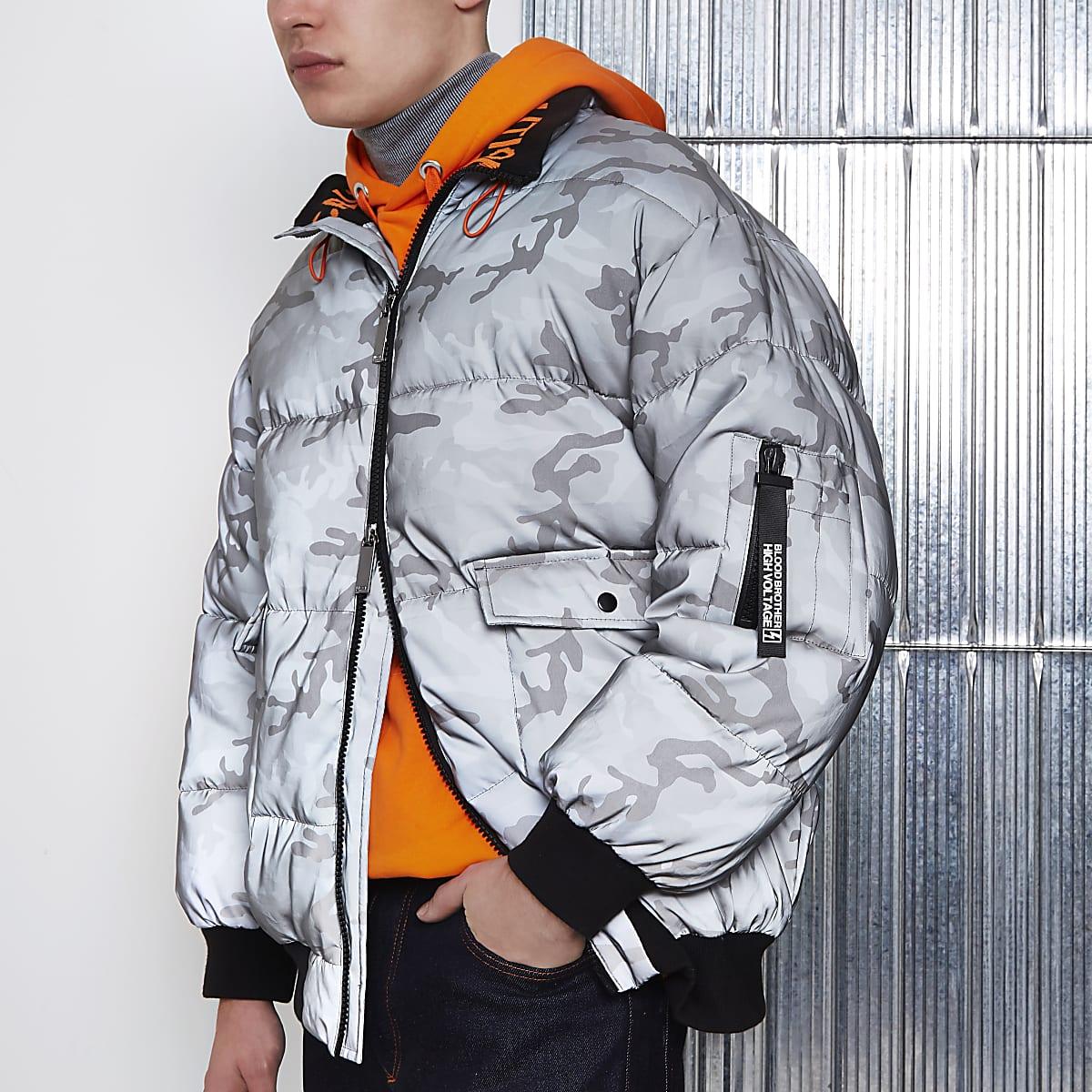 Grey Blood Brother camo print puffer jacket