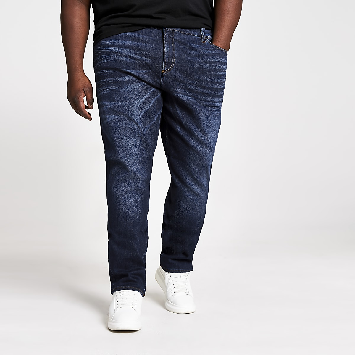 Big and Tall - Sid - Donkerblauwe skinny jeans