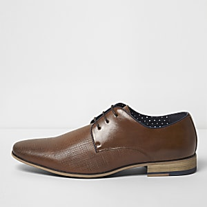 Tan textured lace-up formal shoes