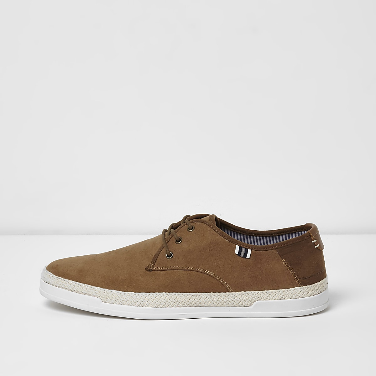 Brown espadrille trim lace-up plimsolls