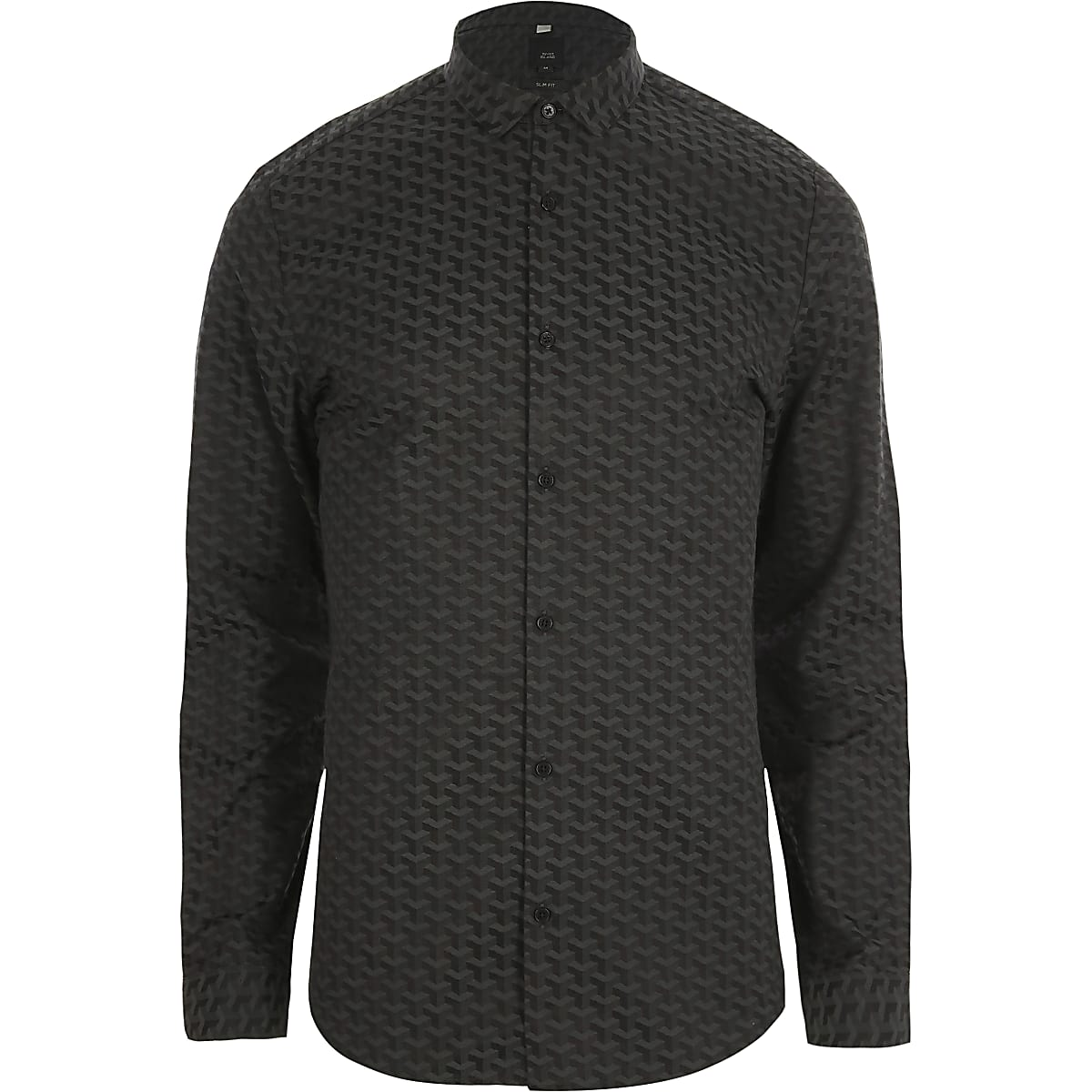 Black geo jacquard slim fit shirt