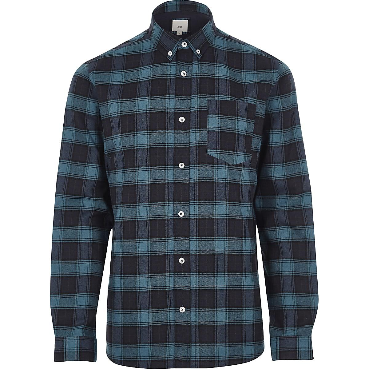Blue check casual button-down shirt