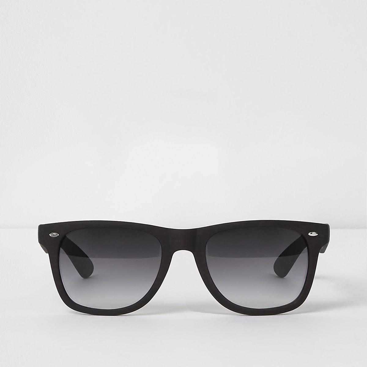 Brown wood effect retro square sunglasses