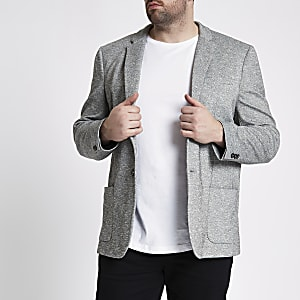 Big and Tall - Lichtgrijze space-dye blazer