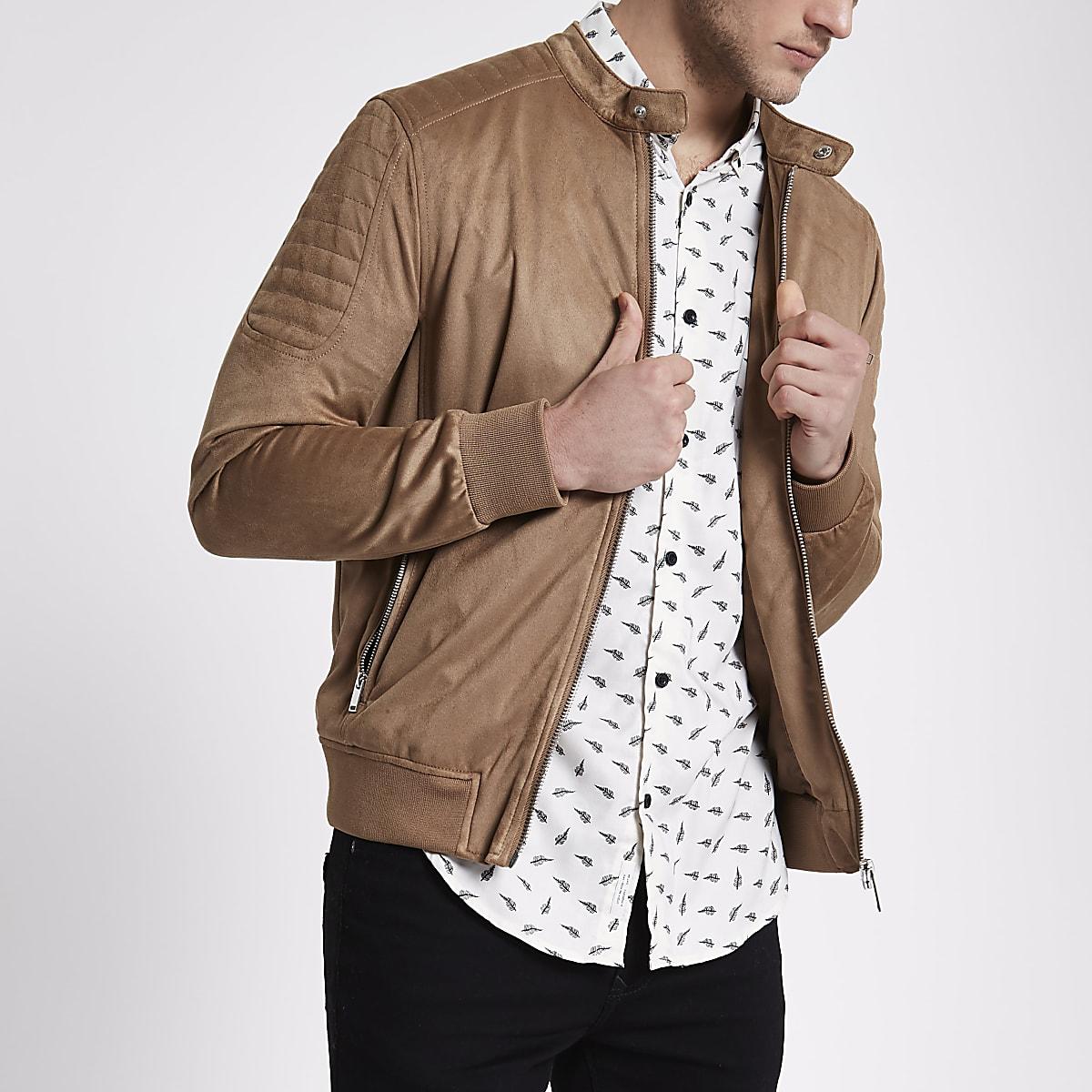 Tan faux suede racer neck jacket