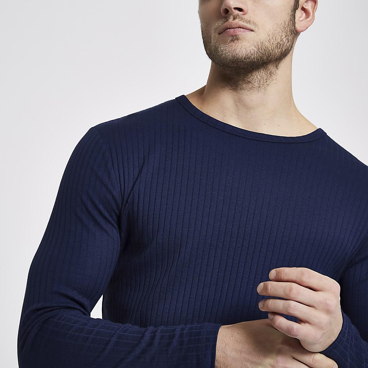a3bfe64cda7df7 Dark blue ribbed slim fit T-shirt - Long Sleeve T-Shirts - T-Shirts ...