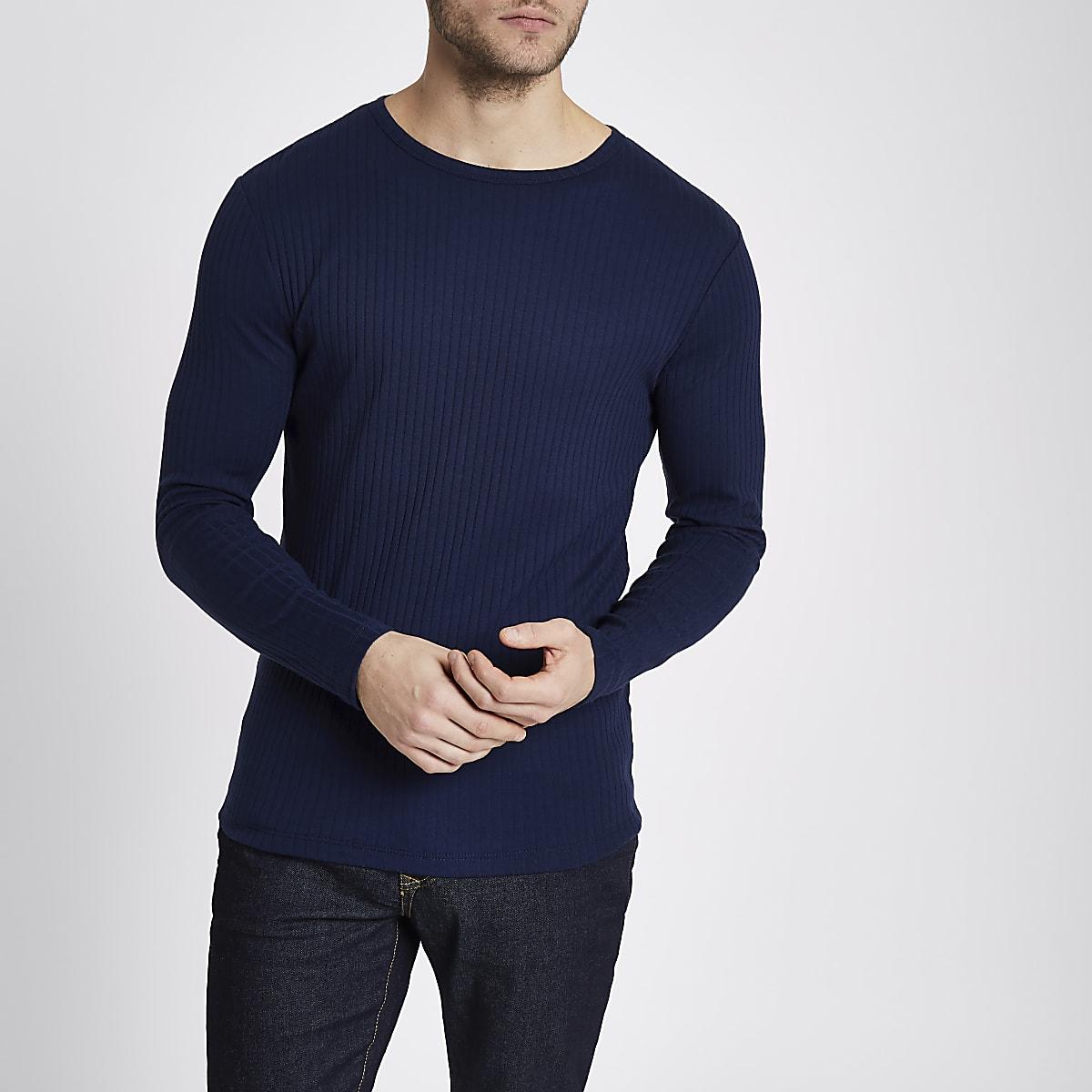 dc82392f07469c Dark blue ribbed slim fit T-shirt - Long Sleeve T-Shirts - T-Shirts & Vests  - men
