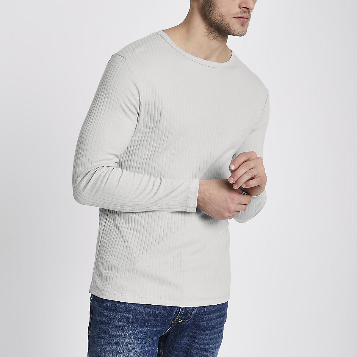 Light grey ribbed slim fit T-shirt