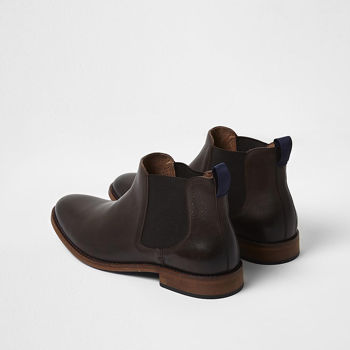 c4725b8b365 Dark brown leather chelsea boots