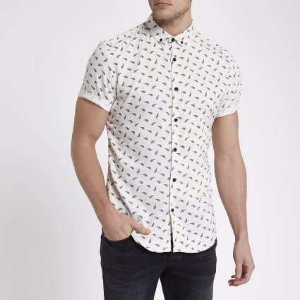 Cream feather slim fit short sleeve shirt