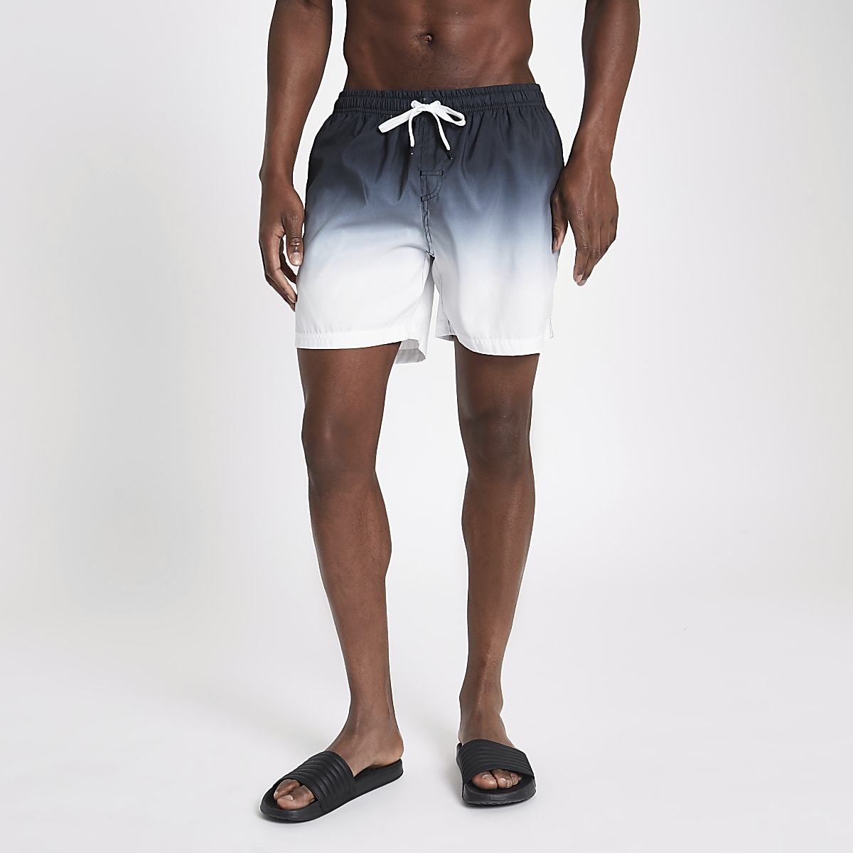 Black dip dye swim shorts