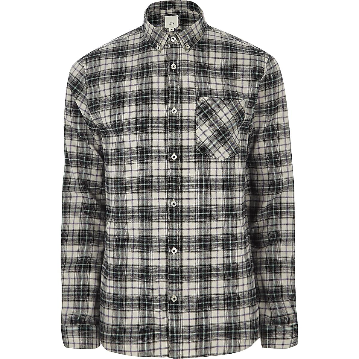 Grey check long sleeve button-down shirt