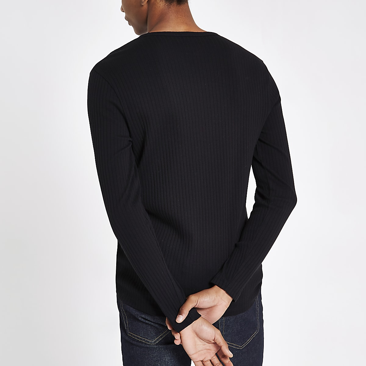 7e7d0a56d63563 Black ribbed slim fit long sleeve T-shirt - Long Sleeve T-Shirts - T ...