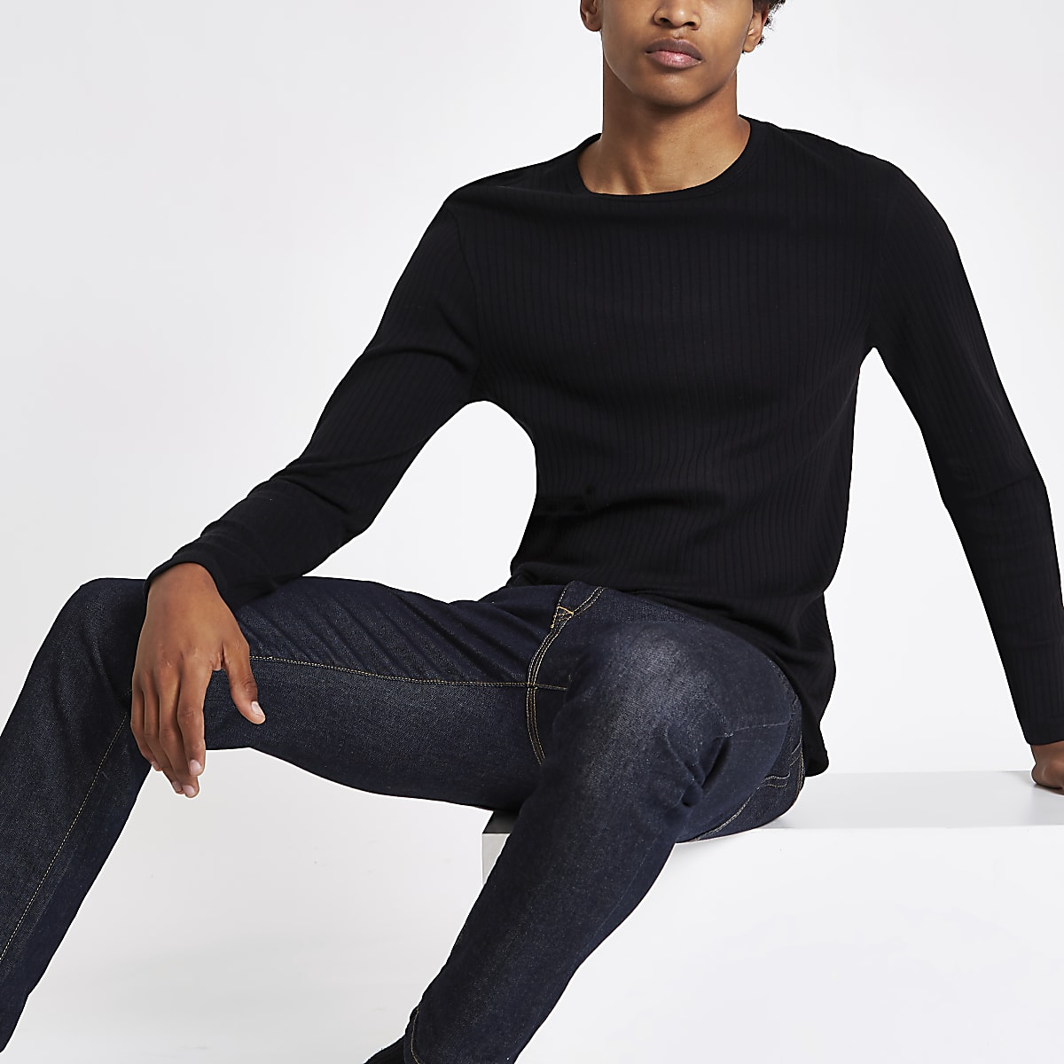 cb45df71f529fb Black ribbed slim fit long sleeve T-shirt - Long Sleeve T-Shirts - T-Shirts  & Vests - men