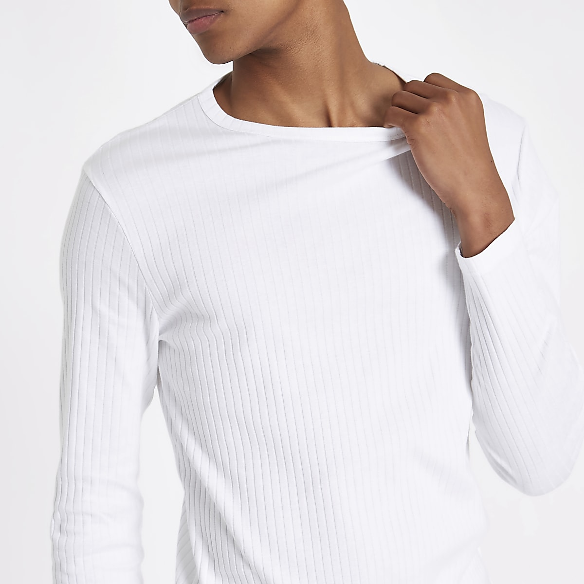 55f5e59d6 White ribbed slim fit long sleeve T-shirt - Long Sleeve T-Shirts - T-Shirts    Vests - men