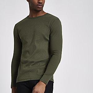 T-shirt slim kaki côtelé à manches longues