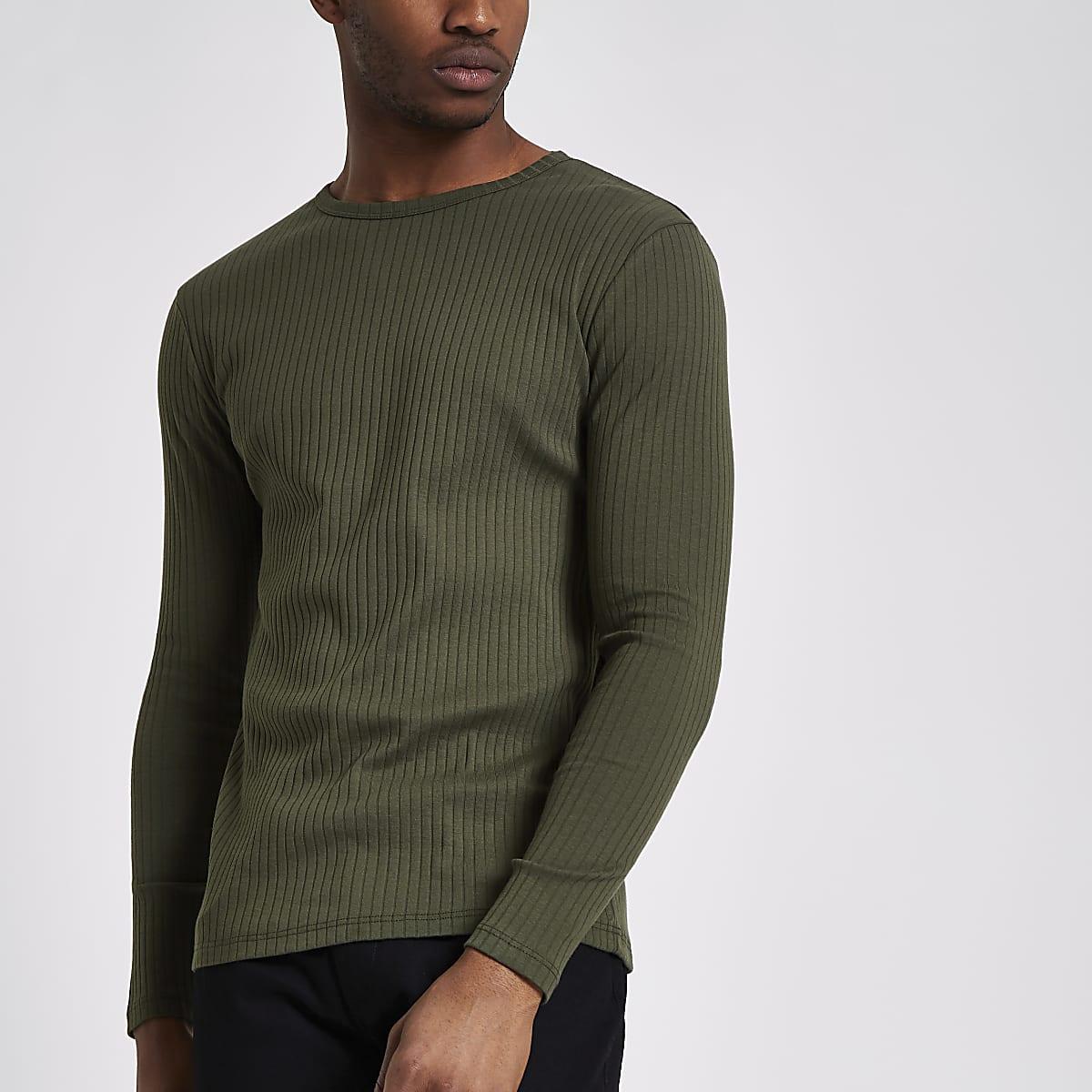 Kakigroen geribbeld slim-fit T-shirt met lange mouwen