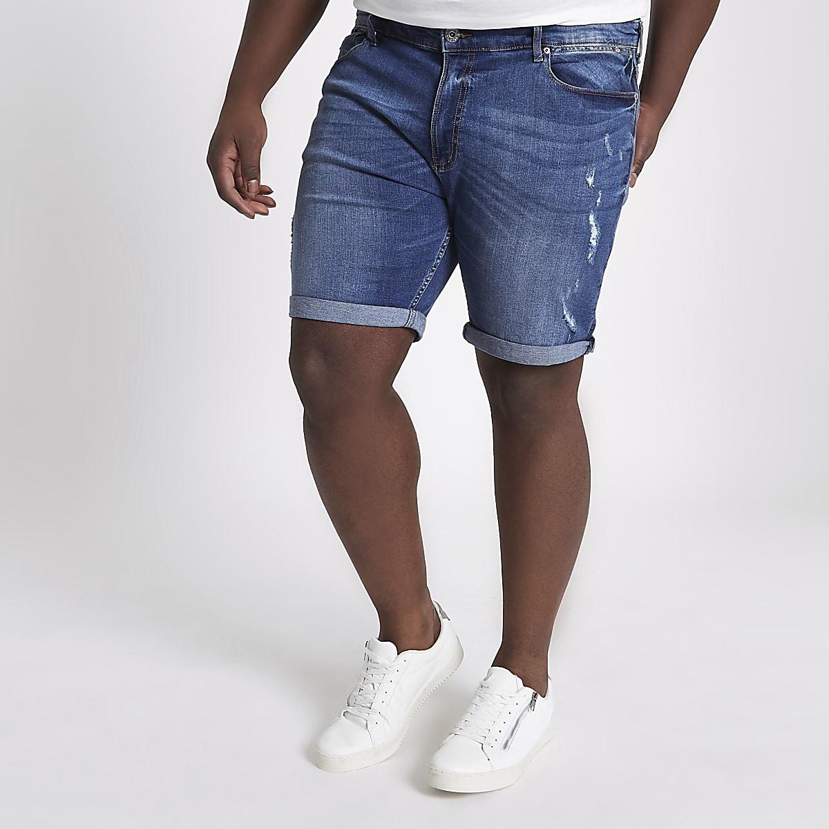 Big & Tall – Blaue Slim Fit Jeansshorts