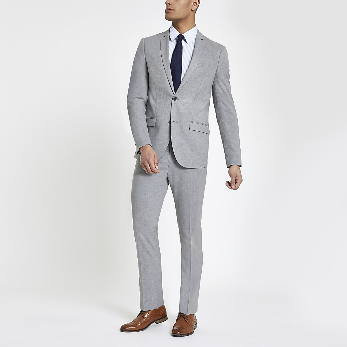 Pantalon de costume gris clair coupe slim