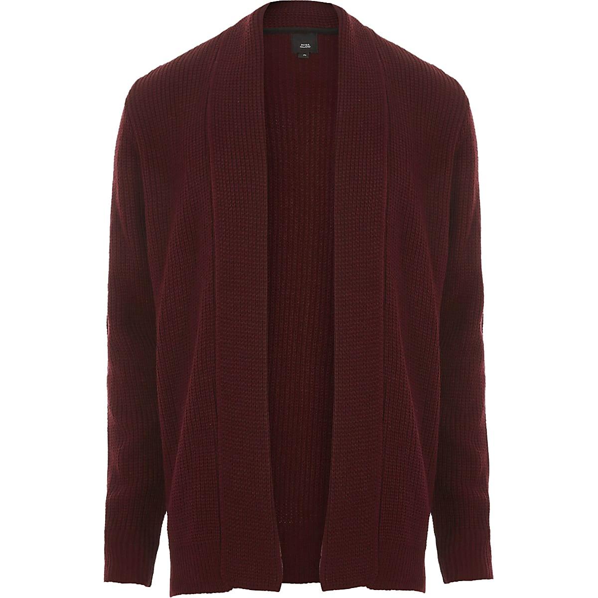 Dark red open front rib knit cardigan