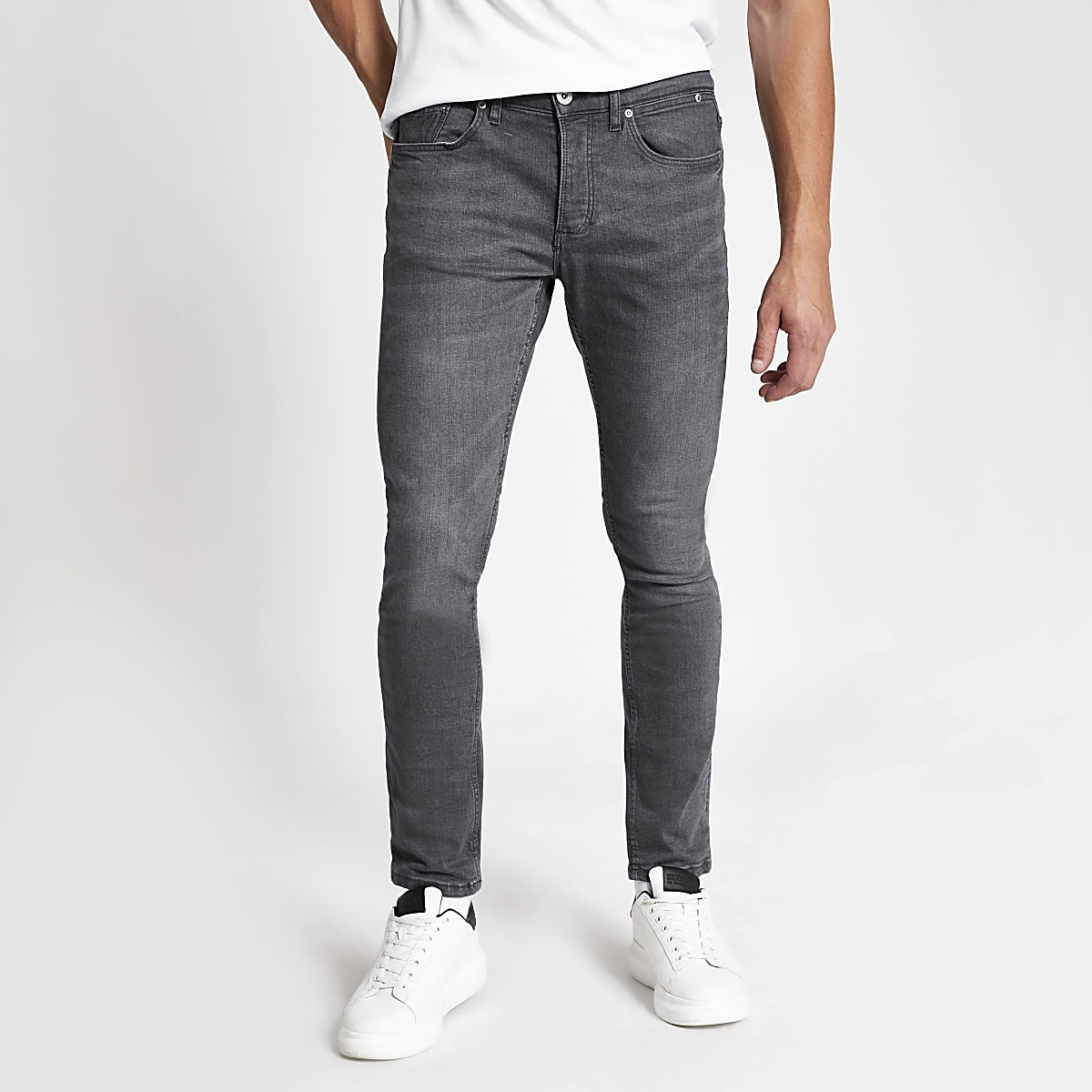 Extrem Grey Sid skinny fit jeans | River Island YV36