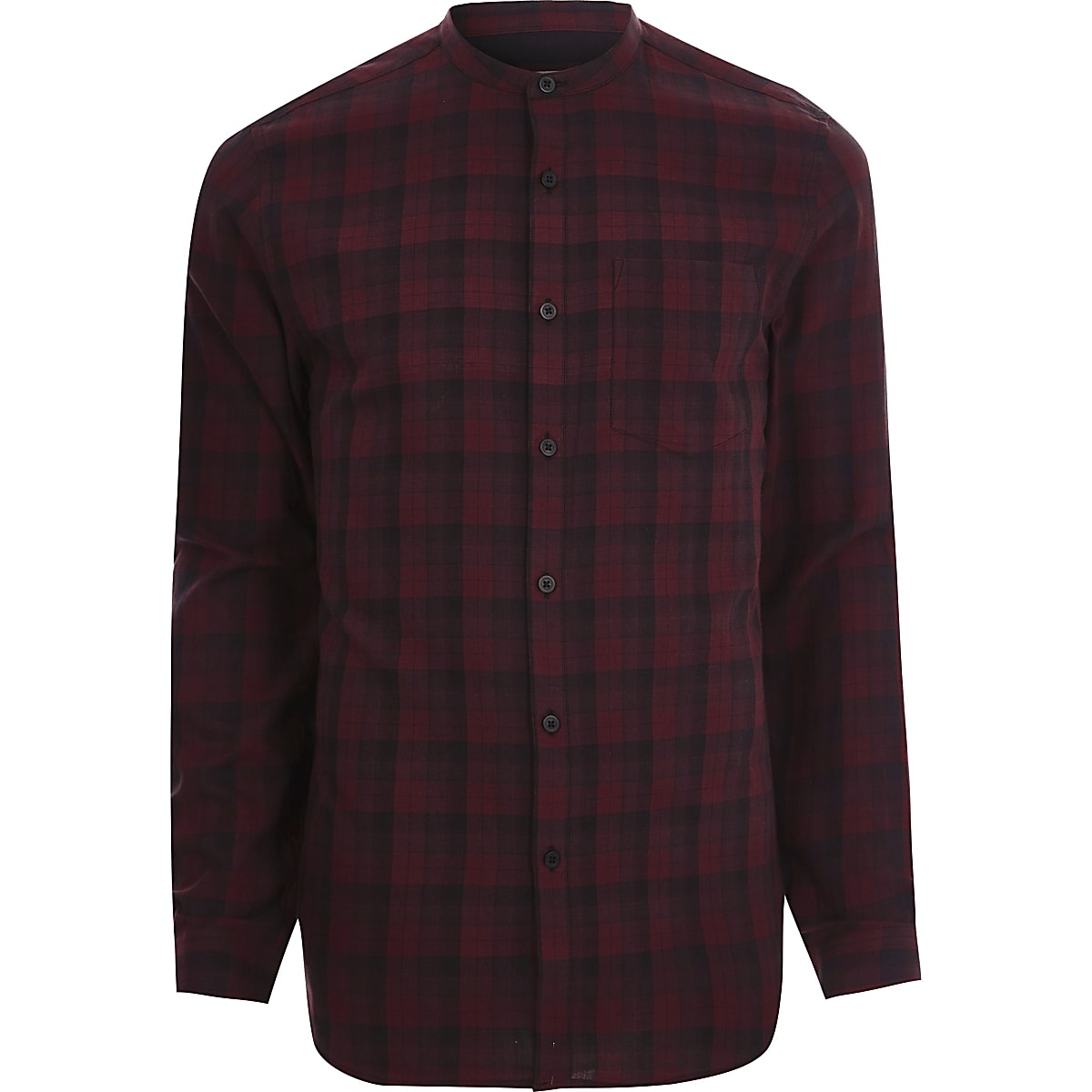 Red check slim fit grandad shirt