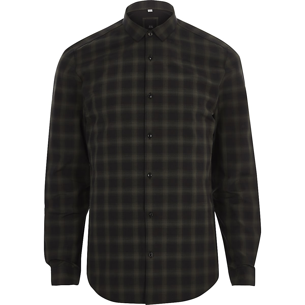 Dark green long sleeve slim fit shirt