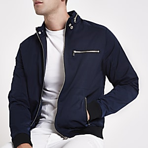Navy racer neck jacket