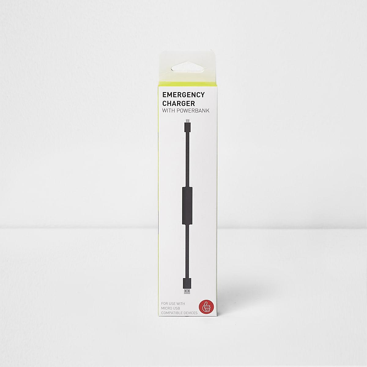 Chargeur d'urgence noir avec batterie