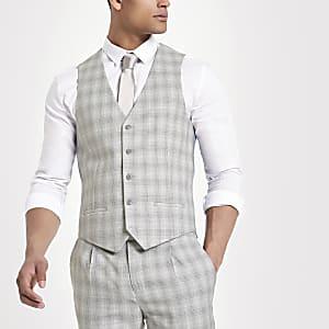 Gilet de costume à carreaux gris clair
