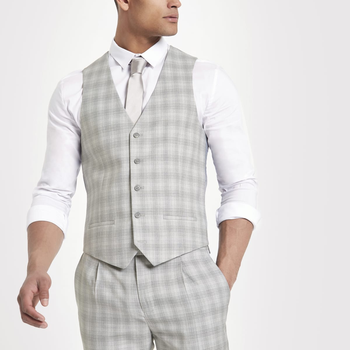 Light grey check suit waistcoat