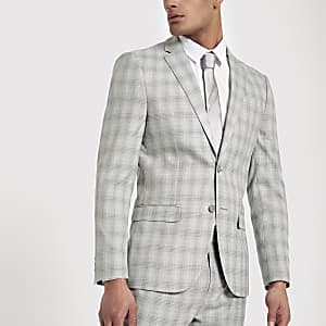 Light grey check slim fit suit jacket