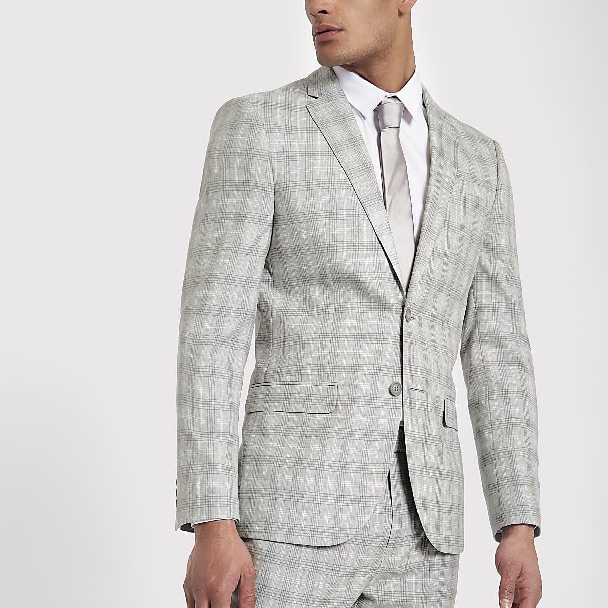 Light grey check slim fit suit jacket