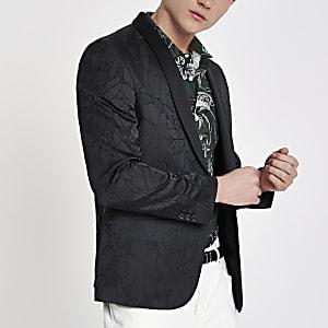 Blazer skinny à fleurs noir texturé