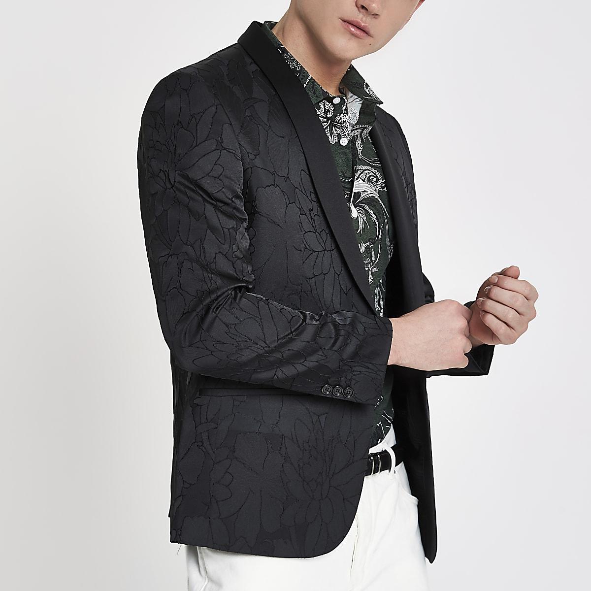 Zwarte gebloemde skinny-fit blazer met textuur