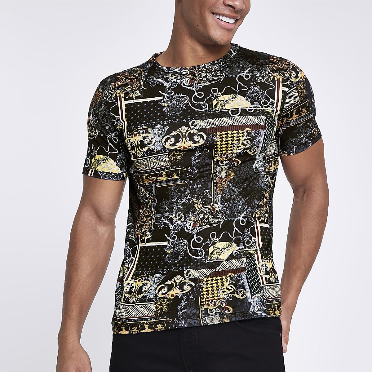Schwarzes Muscle Fit T-Shirt mit Barock-Print