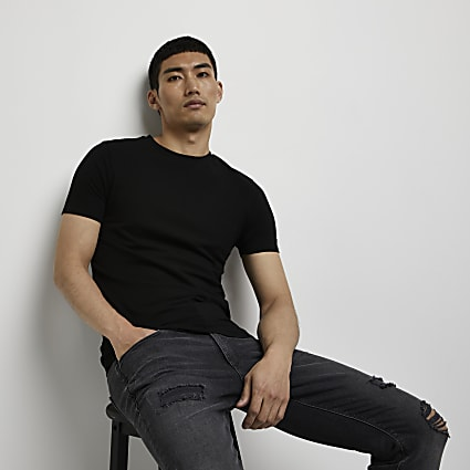 Black muscle fit crew neck T-shirt