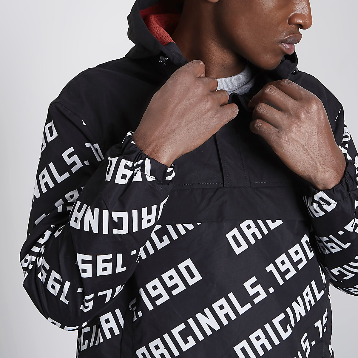 Jack & Jones black '1990' print anorak jacket