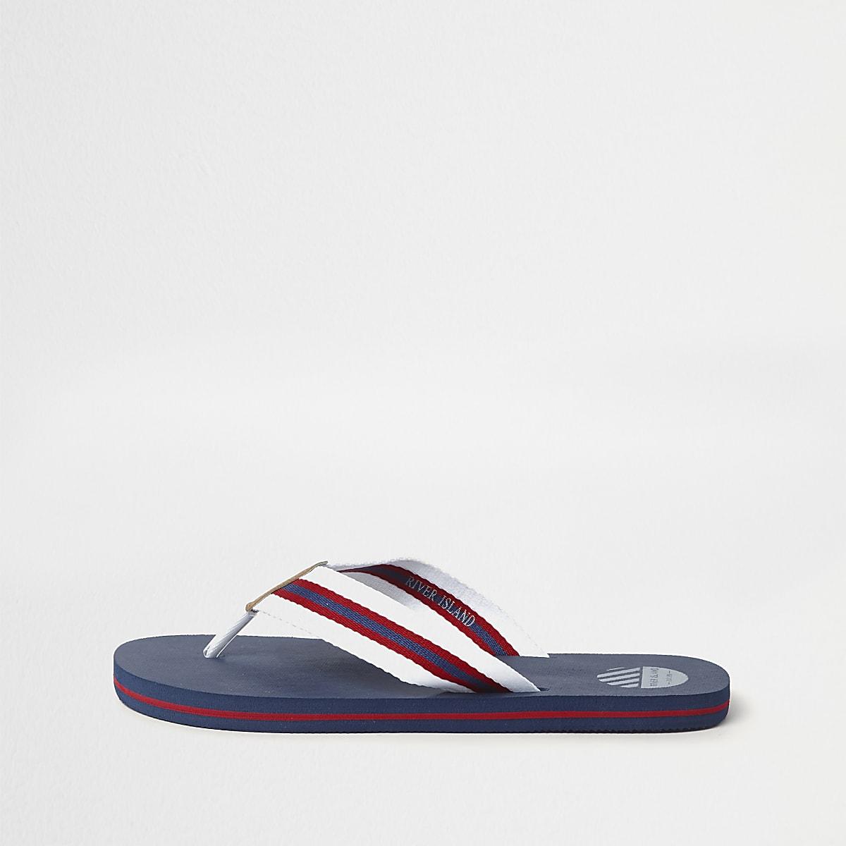 Navy stripe canvas flip flops