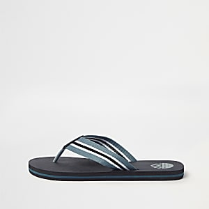 Black stripe canvas flip flops