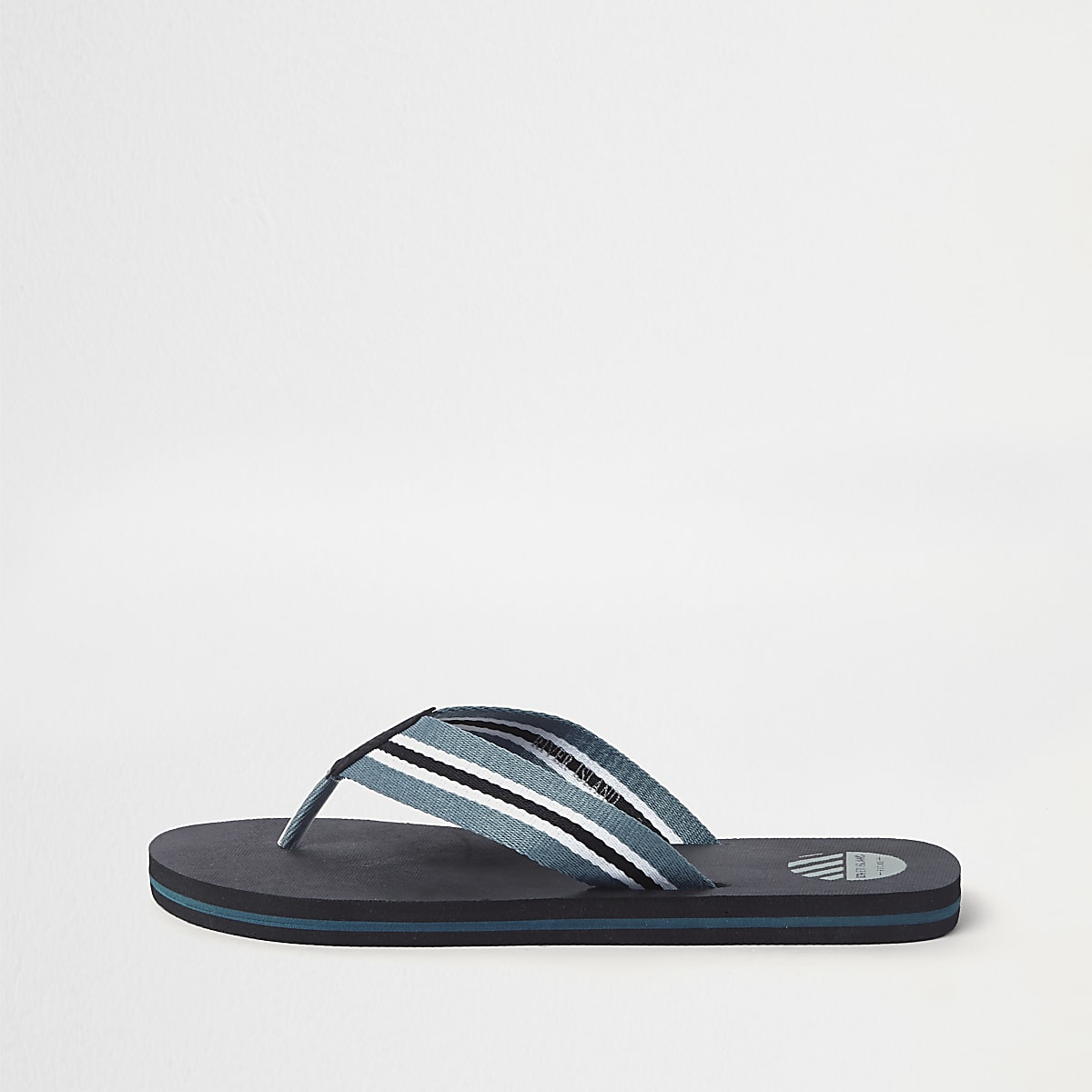 Black stripe canvas flip flops