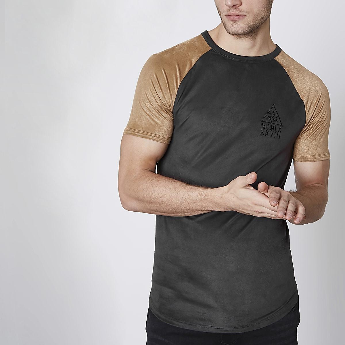 Concept – T-shirt raglan en suédine noir