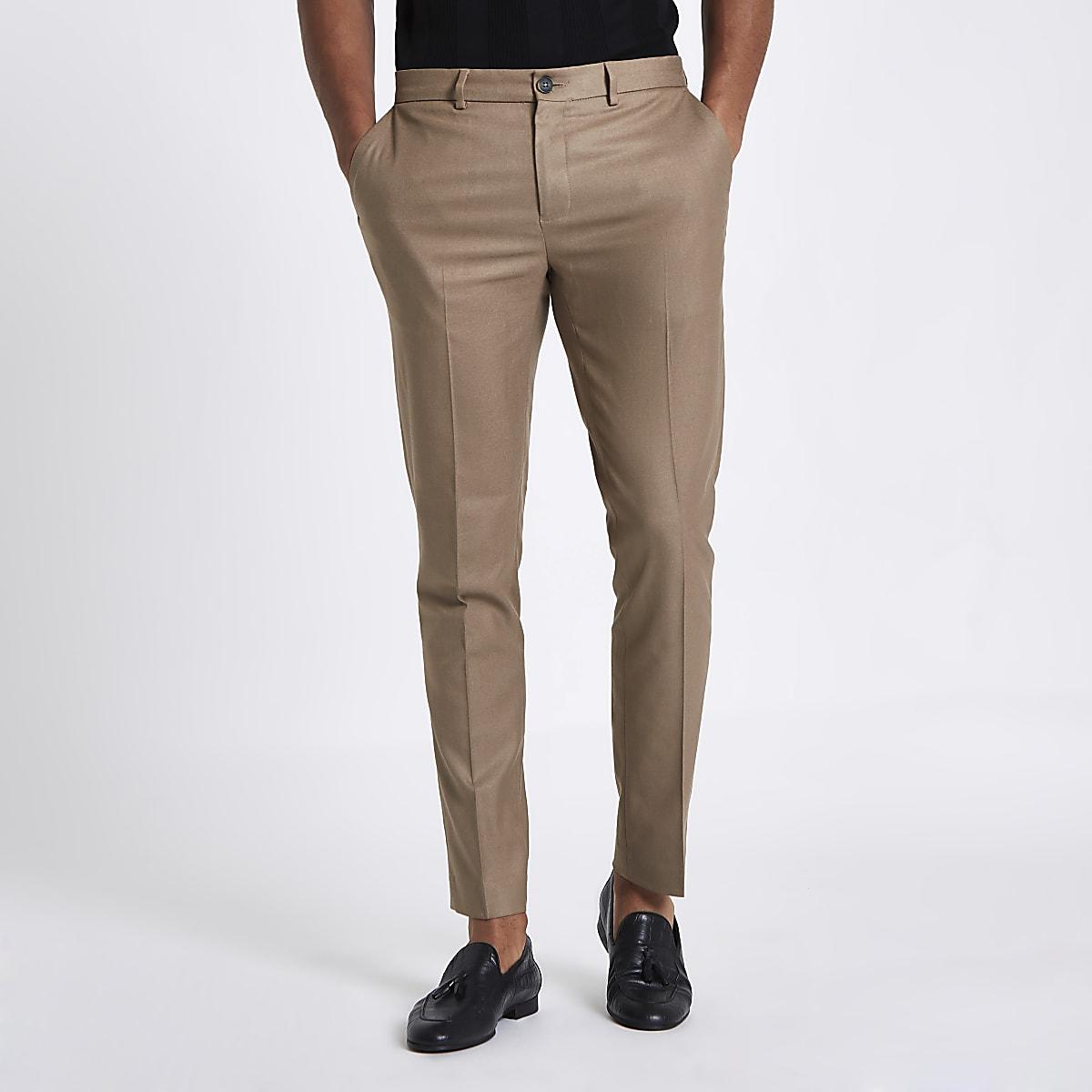 Tan skinny fit smart trousers