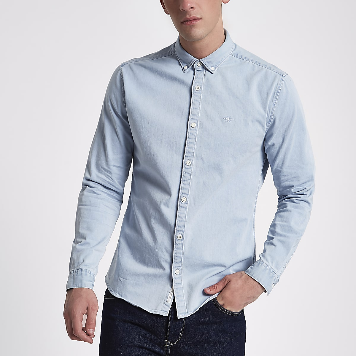 Light blue wash muscle fit denim shirt