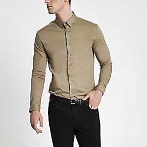 Steingraues Muscle Fit Hemd
