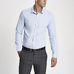 Blauw slim-fit overhemd met lange mouwen