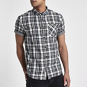 Chemise blanche à carreaux réversible avec manches courtes