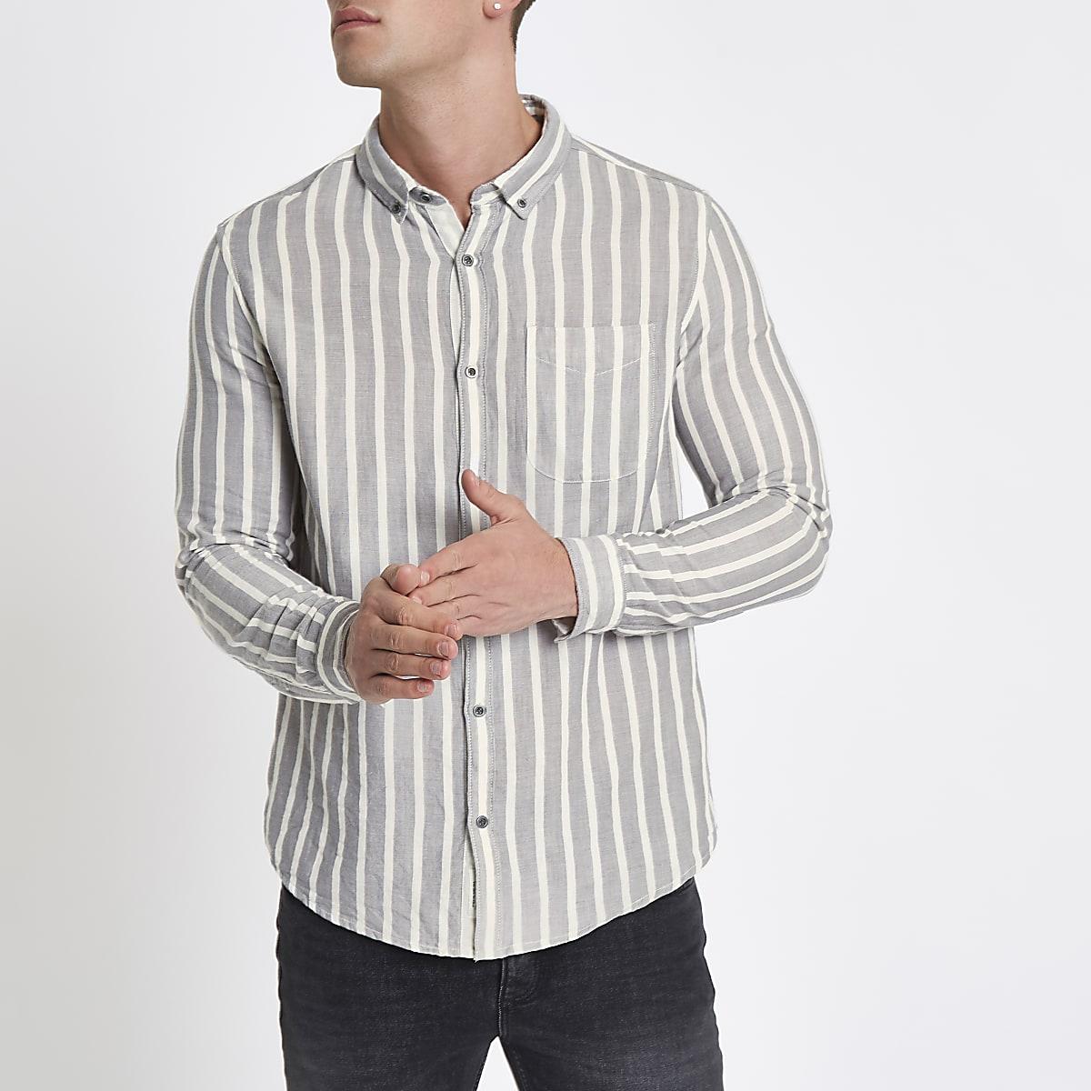 Skinny Fit Overhemd.Ecru Gestreept Slim Fit Overhemd Met Lange Mouwen Overhemden Met