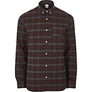 Dark red check long sleeve button-down shirt