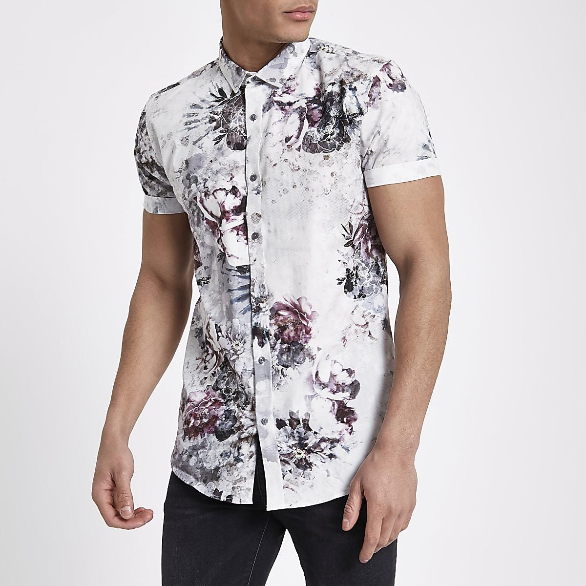 Light grey floral print slim fit shirt